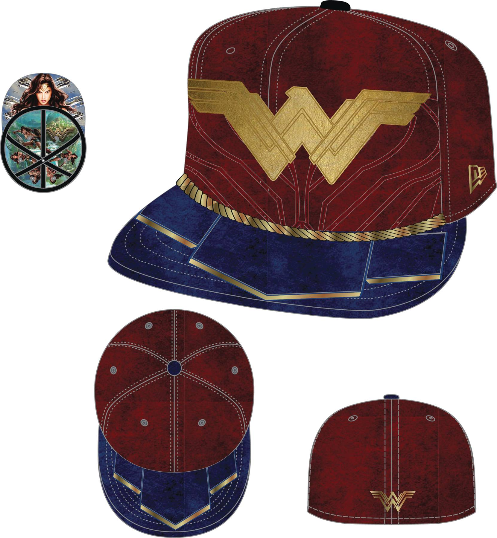 WONDER WOMAN SYMBOL 5950 FITTED CAP SZ 7 5 8  4a7daff002cd
